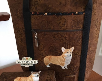 Pembroke Welsh Corgi Tote and Wallet Set, Custom Embroidered Tote and Wallet Set, Corgi Tote Set, Dog/Cat/Animal Embroidery Tote Set