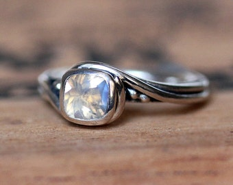Moonstone engagement ring, rainbow moonstone ring, unique gemstone ring sterling silver, silver swirl ring, pirouette ring, custom