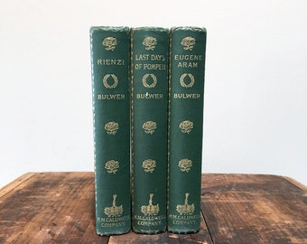 19th Century Bulwer's Works, Set of Three Antique Books Bound in Green Cloth, Vintage Book Decor