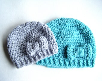 PATTERN:  Bowtique Hat- Easy Crochet PDF, Size NB- Adult, bow beanie, InStAnT DoWnLoad, Permission to Sell