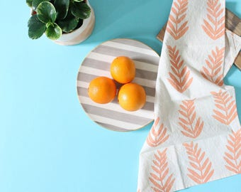 fern leaf hand printed tea towel melon tropical kitchen towel gift SALE