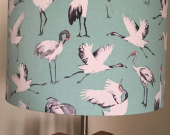 Japanese Crane Fabric Drum Lampshade 40cm Diameter