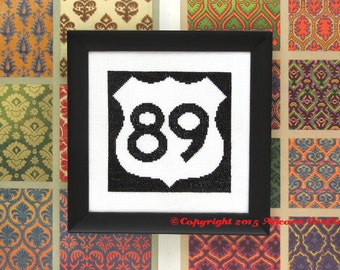 US Highway Road Sign Cross Stitch Kit