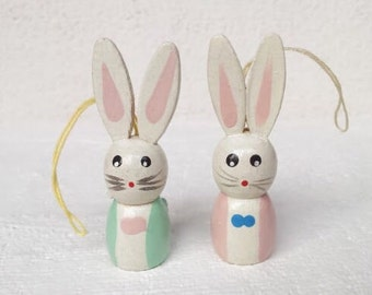 2 Vintage Easter Ornaments or Spring Decorations , Tiny Bunny Rabbit Ornaments, Hand Painted Wood Easter Rabbit Ornaments, Easter Decoration
