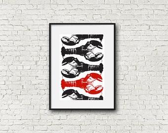 Minimalist Lobster Wall Art, Red, Black, White Print,  Maine Art Print, Modern, Wall Decor, Wall Gallery
