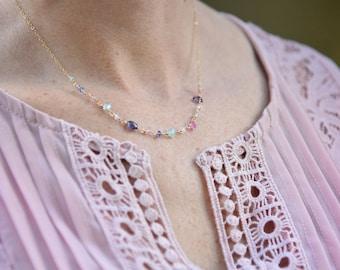 Dainty Gold Necklace, Gemstone Necklace, Gold Beaded Necklace, Beaded Necklace, Dainty Necklace, Gem Necklace, Delicate Necklace, Gemstone