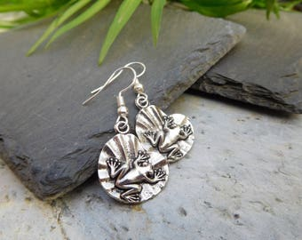 Frog on a lilypad drop earrings. Pretty silver frog on pad charms.