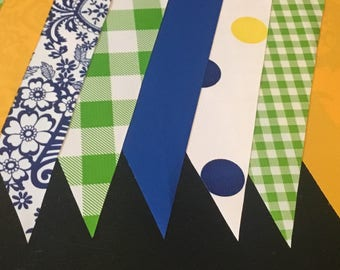 KIT #38 (1 pk) Forest Picnic 15' Oilcloth Pennant Banners Bunting Party Shower Camper Photo Prop