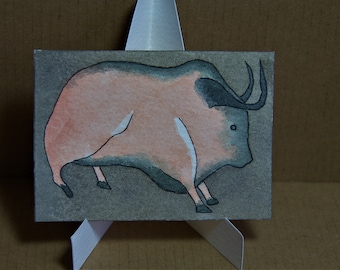 ACEO. Artist trading card. Original watercolour. 'Man Cave Painting.'