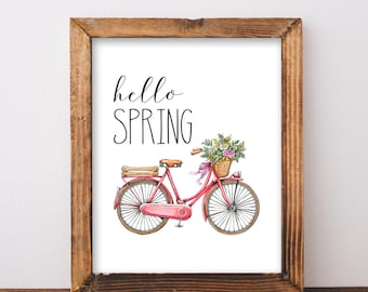 Digital Download Hello Spring Bicycle Printable 5x7 and 8x10