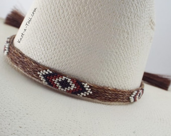 Native American design  beaded horsehair hat band  Amazing colors beaded western horsehair hat band, cowboy hat band, rodeo hat band,