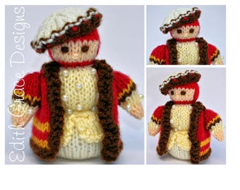 Miniature King Henry VIII Toy Knitting Pattern, Doll Knitting Pattern, Knit Toy, King Crown, Amigurumi, Tudor Dress, Rag Doll Pattern