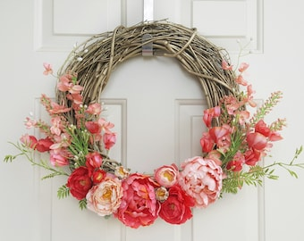 Gold Grapevine Wreath with Pink Peonies and Assorted Florals   Bright Hot Pink and Coral Wreath   Unique Floral Wreath on Gold Grapevine