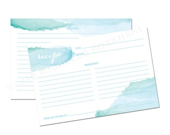 Recipe Card in Watercolor Blue - INSTANT DOWNLOAD