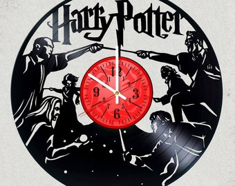 Harry Potter TEAM vs Lord Voldemort Team Vinyl record Clock Size 12 inches/30 cm HARRY POTTER gift for kids Harry Potter party decor