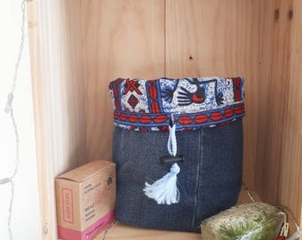 Basket/purse reversible African Wax print and denim