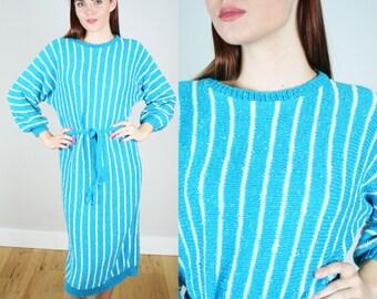 Vintage 1980s Striped Sweater Dress