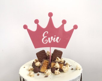 Cake Topper - Personalised Crown princess pink wood acrylic cake toppers decoration - custom decoration toppers name cake topper toppers