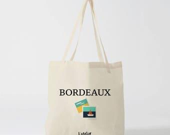 X484Y tote bag Maroon tote bag city Bordeaux city, cotton, bag, shopping bag, bag and tote bag, travel bag, bag cocktails