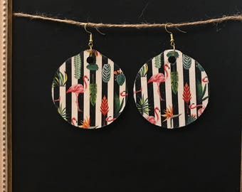 Large Round Wooden Earrings with Flamingo and Flower Pattern