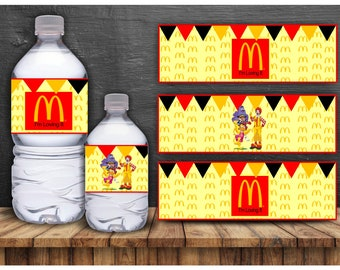 Mcdonalds water bottle labels, printable, download, labels, tags, birthday, party favor, accessories, ronald, red, yellow, black