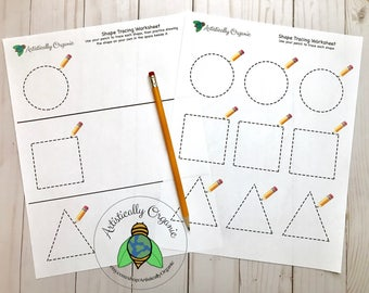 Shape Tracing Worksheets Instant Download | Homeschooling, Circle, Square & Triangle Worksheet