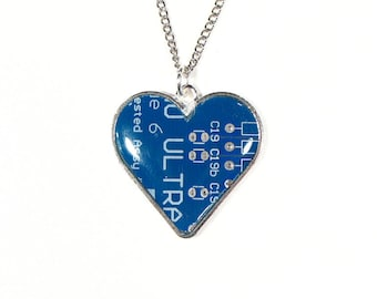 Blue Circuit Board Heart Necklace, Christmas Gift, Computer Gifts, Computer Chip Necklace, Engineer Gift, Gift for Her, Upcycled Gift