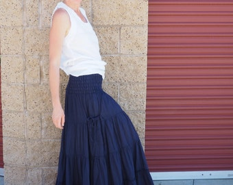 Gauze Gypsy Tiered Maxi Skirt in NAVY // Pockets, Natural Fiber, Flexible Waistband / Breathable Elegance!