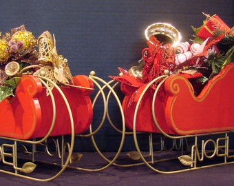 Red Wooden Sleigh on Gold Metal Runner  (READY TO SHIP)