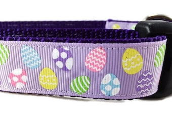 Easter Dog Collar, Purple Eggs, 1 inch wide, adjustable, quick release, metal buckle, chain, martingale, hybrid, nylon