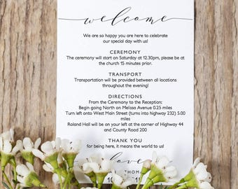 """Welcome Itinerary 5x7 Wedding Guest note, Welcome letter template, """"Wedding"""" printable wedding welcome, Wedding Ideas, Edit in WORD or PAGES"""