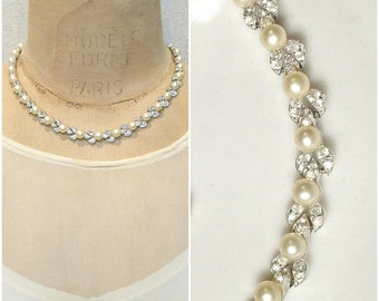 PRISTINE Dainty Art Deco Pearl Bridal Necklace, Vintage Wedding Pave Rhinestone Glass Ivory Pearl Necklace,Silver Link Statement 1940s 1950s