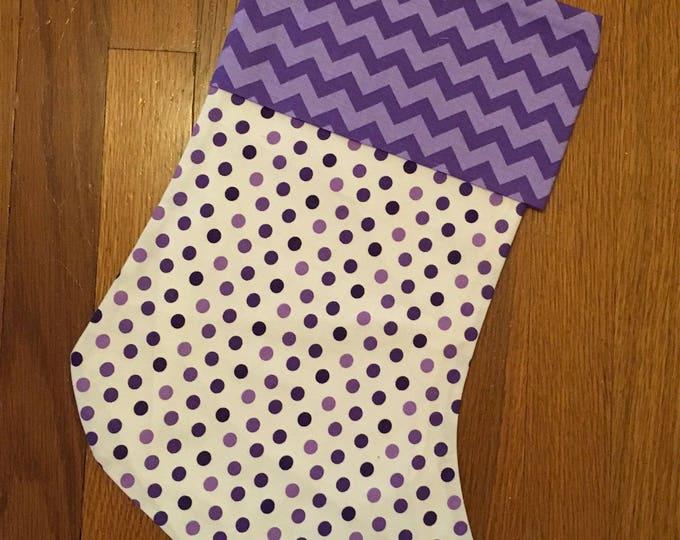 purple Polka Dot and Chevron Stocking horned frog appliqué Christmas Stocking RTS TCU Christmas tcu Decor
