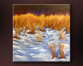 """SALE 50% OFF - Original Acrylic Abstract Floral  painting- Iowa Winter 2- 12"""" x 12"""""""