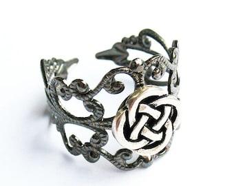 Celtic Ring, Irish Ring, Celtic Knot Ring, Celtic Gift - Gunmetal Filigree Ring with Silver Celtic Knot, Adjustable