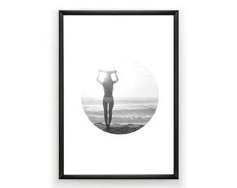 Surfer Photo, Surf Photography, Summer Art, Surfer Poster, Surf Poster, Girl Photography, Surf Photo, Summer Decor, Black and White Art