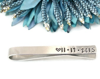 Personalized Tie Clip Wedding Date Hand Stamped Tie Clip   Personalized Tie Bar   Groom Gift   Groomsmen Gift   Anniversary Gift For Him
