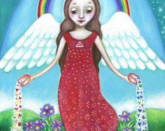 Angel Print Temperance Tarot Wall Art Rainbow Painting Spiritual Angel Gift For Friend Girls Room Wall Decor Children Room Art