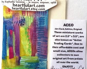 ACEO HAWAIIAN WATERFALL Original Watercolor Abstract Painting Artist Trading Card Heartful Art by Raphaella Vaisseau