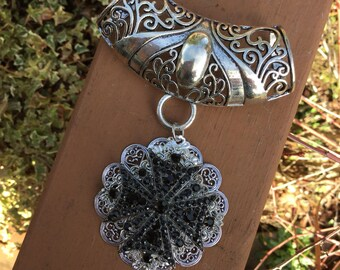 scarf jewelry silver and black crystal on silver round filigree. Scarf bling. Scarf slide and pendant.