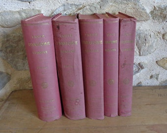 Complete 5 volume set of French Anatomy books by L. Testut, Traité D'Anatomie Humaine 1928 - 1931