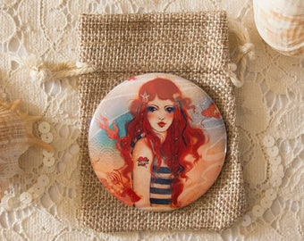 "Pocket Mirror - slim pocket mirror - red hair - sea - ""Pirate"""