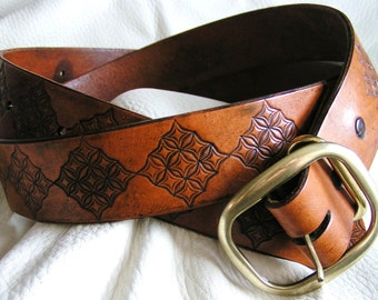 Tan medallion leather belt