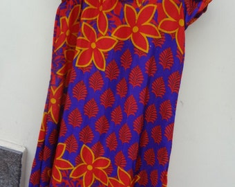 Lightweight, Long, Summer Indian Sari Silk Ladies Knee Length Dress - Red and Purple Floral - Seluvia F635