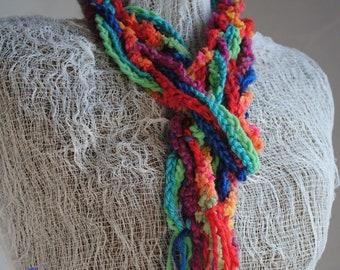 Rainbow Scarf Red blue scarf chain scarf handmade deevinci
