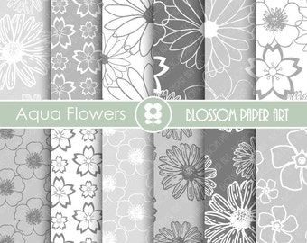 Digital Paper, Grey Digital Paper Pack, Digital Paper Pack, digital backgrounds, Floral Wedding Papers -1678