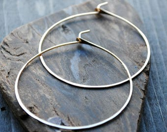 Gold Hoop Earrings 14K - Thin Hoop Earrings - Gold Hoops Medium - Large Hoop Earrings - Extra Large Hoops - Really Big Hoops