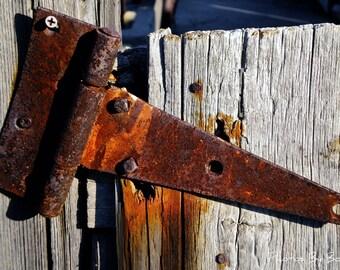 Rusty Hinge on Barn Door