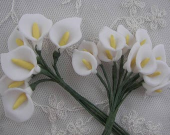 18pc Chic White polymer clay wired cala lily flower applique bridal wedding bouquet hair accessory