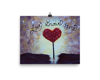Love Grows Here Poster, heart art, gift, abstract poster art